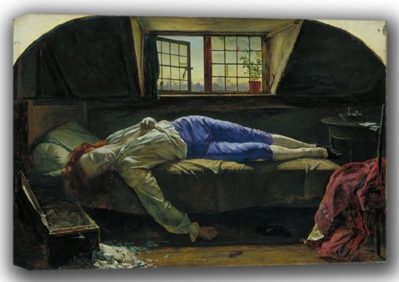Wallis, Henry: The Death of Chatterton. Fine Art Canvas. Sizes: A4/A3/A2/A1 (001538)